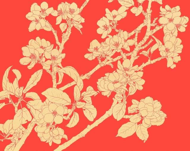, 'Gold Blossom on Red,' 2014, TAG Fine Arts