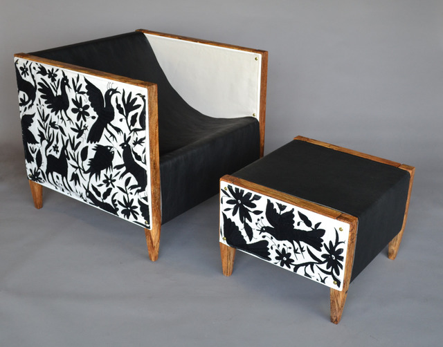 , 'Camp Club Chair & Ottoman Special Edition: Black & White Otomi, Spalted Oak,' 2016, blankblank