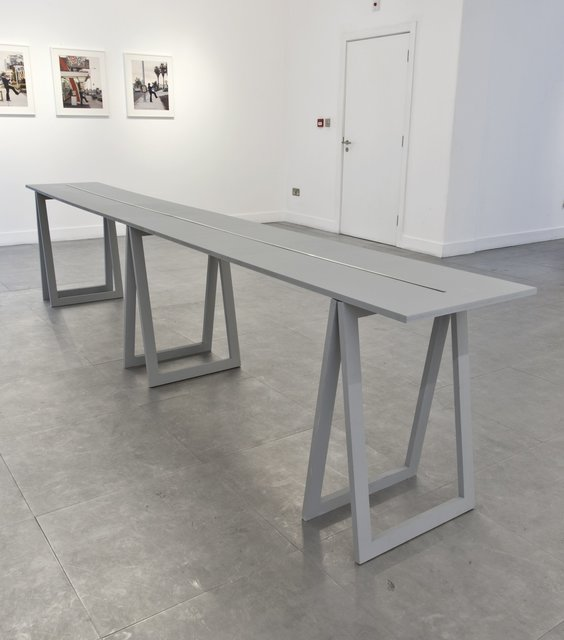 Stanley Brouwn, 'Height of 1+m', 1994, Sculpture, 8 aluminium elements of varying dimensions presented on a wooden table, Richard Saltoun