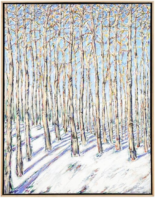 Gustavo Novoa, 'Aspen Grove, Large Scale Beautiful Landscape Snow Scene', Late 20th Century, Lions Gallery
