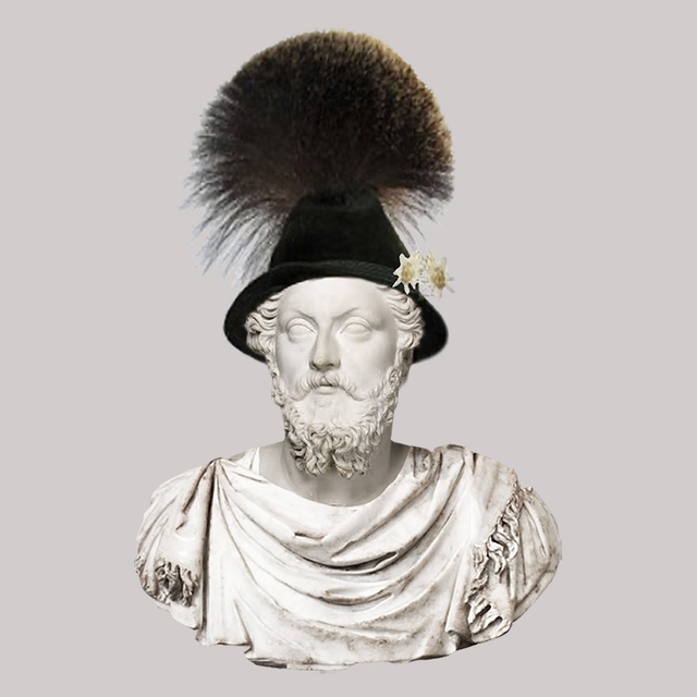 , 'Roman Emperor Marcus Aurelius/Gamsbart German Hat,' 2018, JAUS