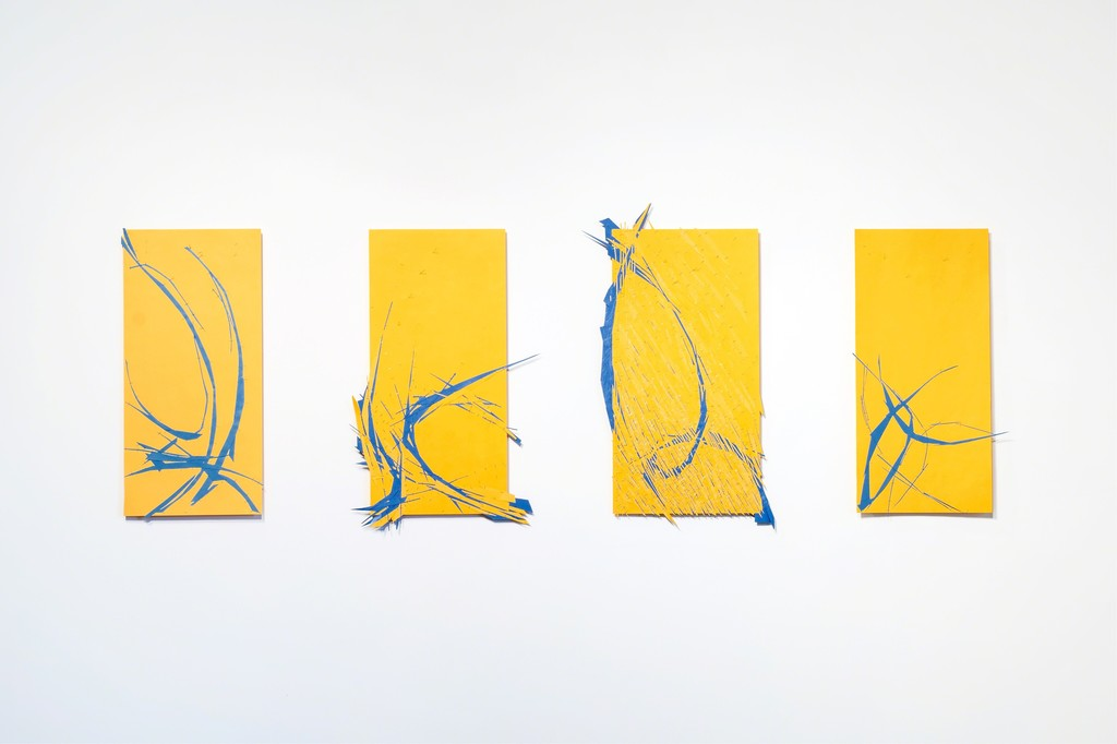 Four mixed-media works on paper from the Swallows series by Sanda Iliescu.