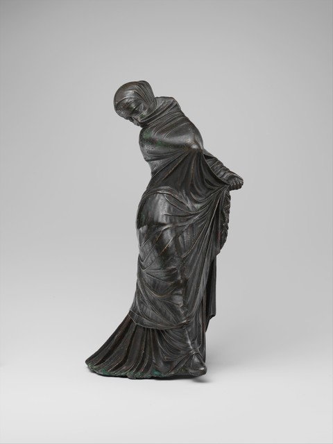 Unknown Greek, 'Bronze statuette of a veiled and masked dancer', 3rd–2nd century B.C., The Metropolitan Museum of Art