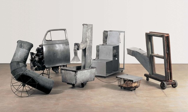 Robert Rauschenberg, 'Oracle', 1962-1965, Five-part found-metal assemblage with five concealed radios: ventilation duct; automobile door on typewriter table, with crushed metal; ventilation duct in washtub and water, with wire basket; constructed staircase control unit housing batteries and electronic components; and wooden window frame with ventilation duct, Robert Rauschenberg Foundation