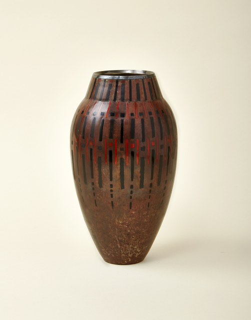 , 'Dinanderie vase, of ovoid form, lacquered with red and black lines, rectangles, and squares,' ca. 1930, DeLorenzo Gallery