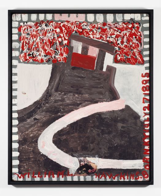 William Hawkins, 'Sleeping Figure With Castle', 1987, Painting, Enamel on masonite, Fleisher/Ollman