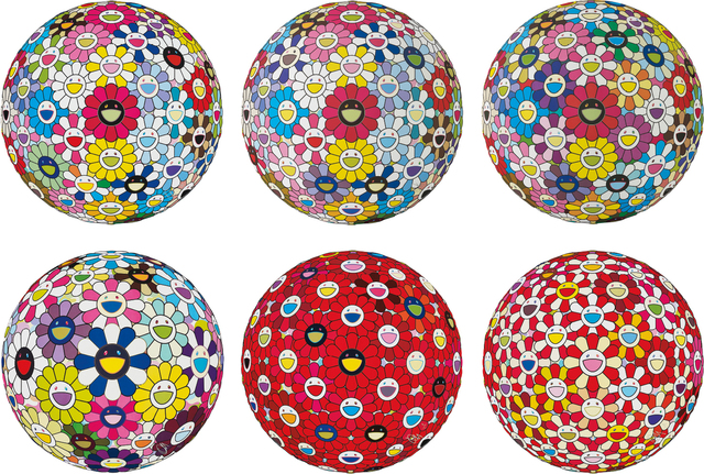 Takashi Murakami, 'Hold Me Tight!; Space Show; Flowerball Multicolor; Awakening; Flowerball: Bright Red; and Flowerball: Koi/Red-crowned Crane Vermilion', 2014-2017, Phillips
