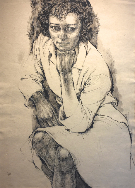 Barbara Swan, 'Portrait of Anne Sexton', ca. 1964, Drawing, Collage or other Work on Paper, Ink on paper, Alpha Gallery