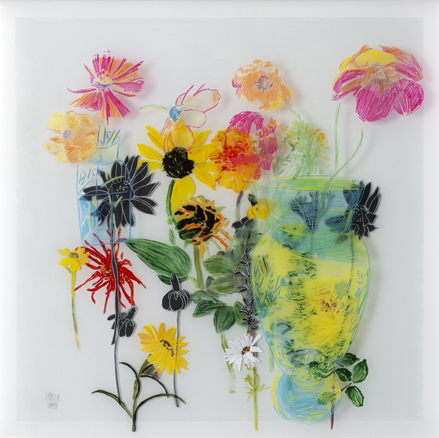 Gail Norfleet, 'My Favorite Vase', 2019, Painting, Acrylic, collage, and china marker on two Lucite panels, Valley House Gallery & Sculpture Garden