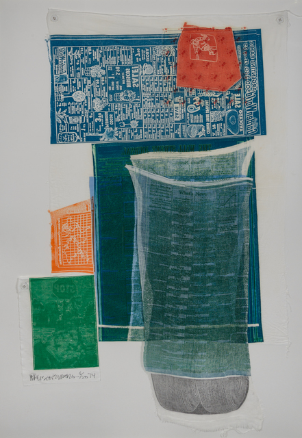 Robert Rauschenberg, 'Platter from Airport Series', 1974, Mixed Media, Color relief and intaglio on fabric collage, Hindman