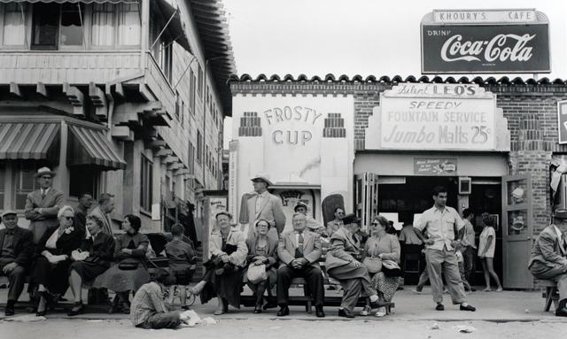 , 'Boardwalk Bench Spectators, Muscle Beach, California,' 1954, Bruce Silverstein Gallery
