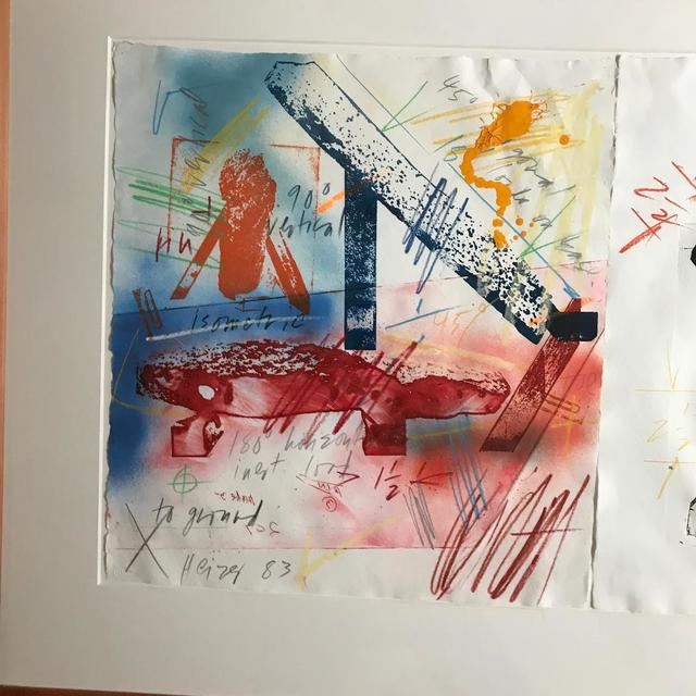 Michael Heizer, 'III-8 ', 1983, Print, Two monoprints on white handmade TGL paper, hand colored with colored pencils, Paintsticks, and liquid and spray acrylic paints. Hand signed and dated by artist; publisher's blind stamp.Framed., Alpha 137 Gallery