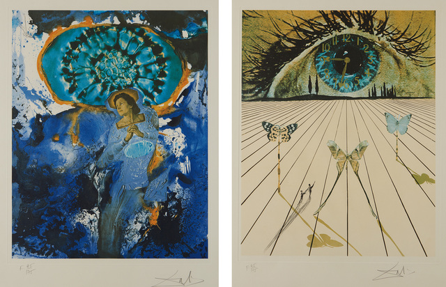 Salvador Dalí, 'Ultra-Surrealistic Corpuscular Galutska; and The Eye of Surrealistic Time, from Memories of Surrealism', 1971, Print, Two drypoints over lithograph in colors, on Arches paper, with full margins., Phillips