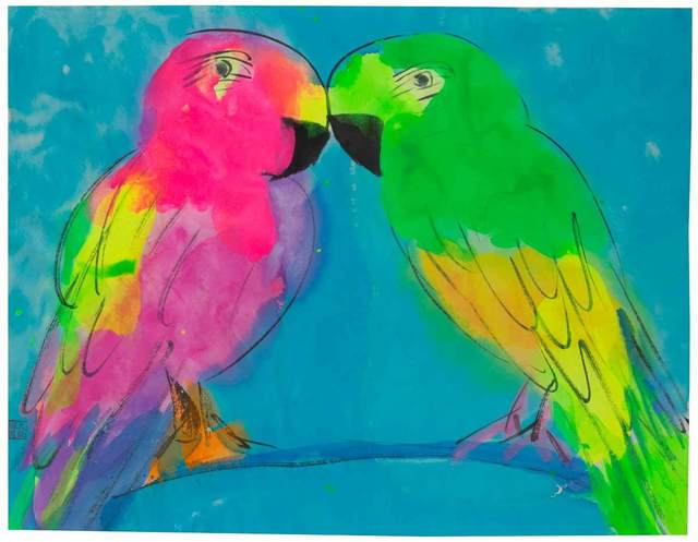 Walasse Ting 丁雄泉 Love Birds On Blue Branch 1990 2000 Artsy