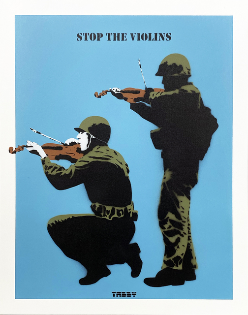 TABBY, ''Stop the Violins' (blue)', 2020, Painting, Acrylic spray paint/stencil on thick, cotton canvas panel., Signari Gallery