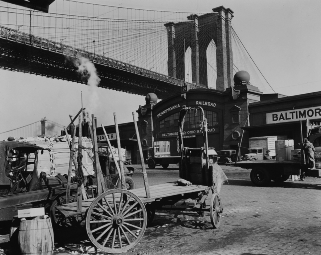 , 'South Street with Brooklyn Bridge, Pier 21, Pennsylvania Railroad, Manhattan,' 1937, Holden Luntz Gallery