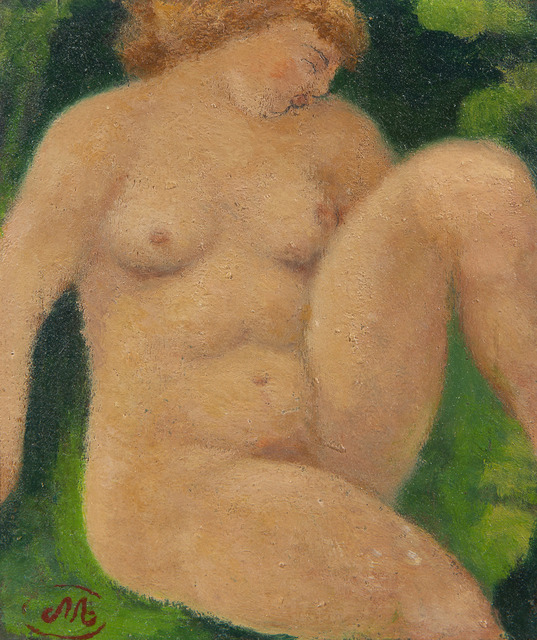 Aristide Maillol, 'Baigneuse assise', ca. 1930, Painting, Oil and pencil on wood panel, BAILLY GALLERY