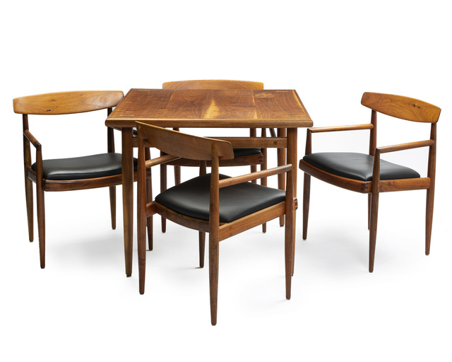 Sam Maloof, 'Game table with four low-back chairs', John Moran Auctioneers