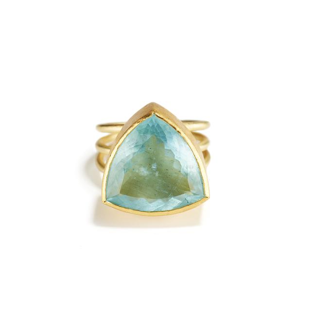 Petra Class, 'Trillion Cut Aquamarine Ring', ca. Circa 2017, Jewelry, Aquamarine, gold,  ring, Patina Gallery