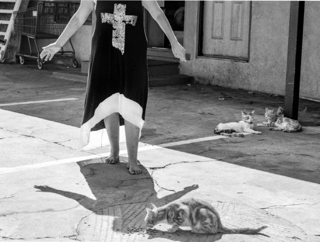 , 'Cheryl Makes an Offering, Budget Courtyard, Modesto, CA,' 2014, Fraenkel Gallery