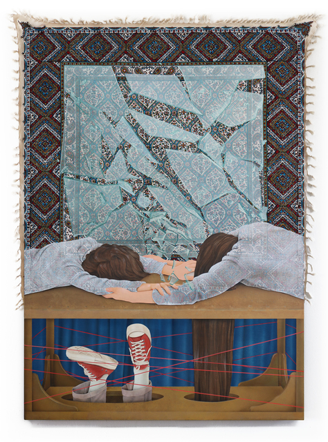 Arghavan Khosravi, 'Living On The Edge', 2019, Painting, Acrylic on found wood block printed fabric, acrylic on cotton canvas mounted on wooden panel, Stems Gallery