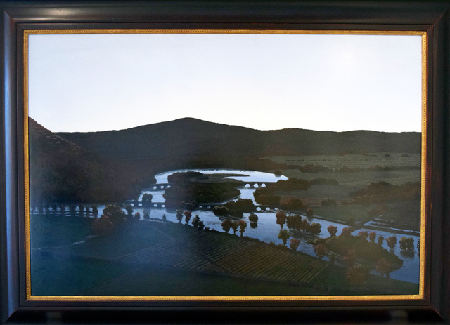 Stephen Hannock, 'The Oxbow, After Church, After Cole, Flooded (Flooded River with Green Light for the Matriarchs E. & A. Mongan), 1999', 1999, Painting, Polished oil on canvas stretched over panel, Winston Wächter Fine Art