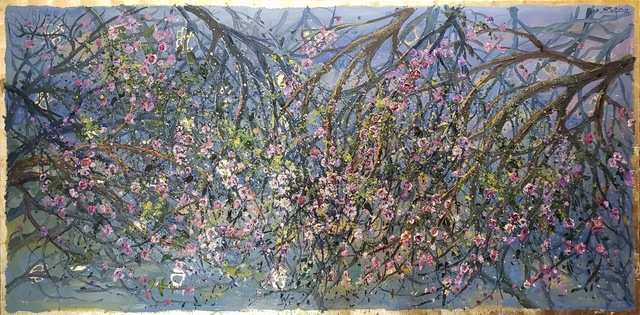 Bruno Zupan, 'Almond Blossom - Panel ', 2015 , Painting, Original oil on canvas with gold leaf underpaint, Off The Wall Gallery