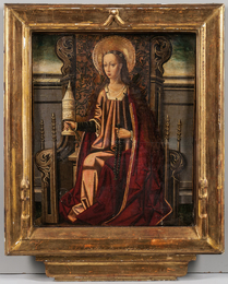 Mary Magdalene Enthroned, Holding an Unguent Jar and Rosary