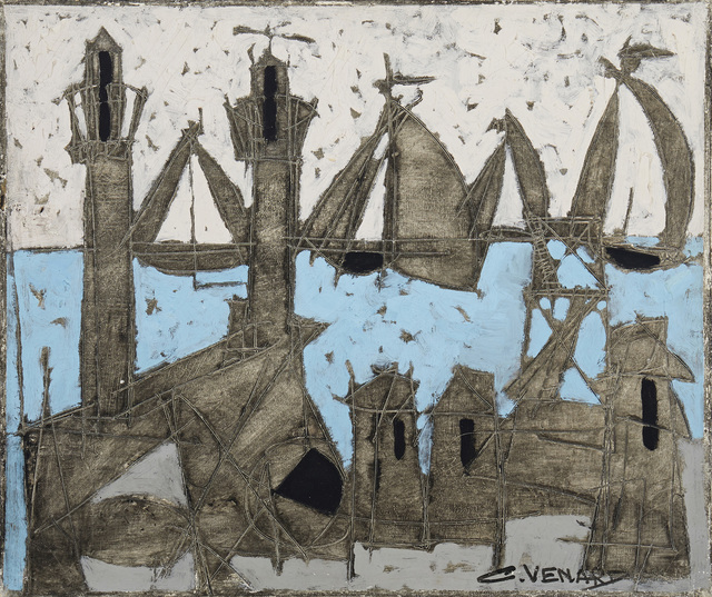 Claude Venard, 'Abstract harbor scene', Painting, Oil on paper laid to canvas, John Moran Auctioneers