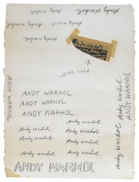 Andy Warhol, 'Untitled (Signatures)', circa 1985, Mixed Media, Graphite, adhesive tape and printed paper collage on paper, Sotheby's