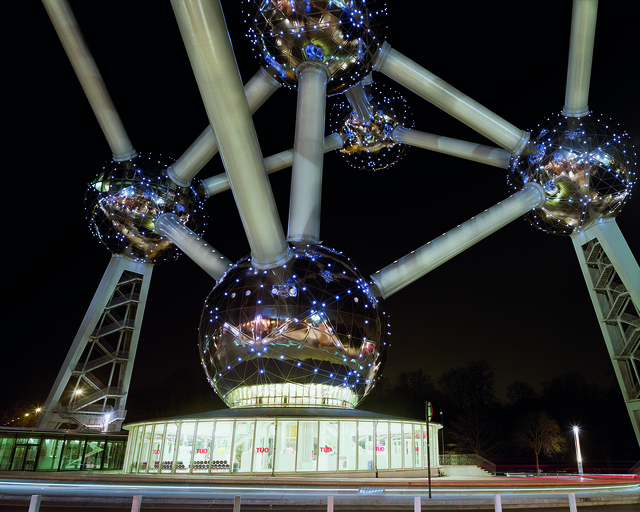 """, 'Brussels 1958 World's Fair, """"A New Humanism,"""" Atomium at Night,' , Front Room Gallery"""