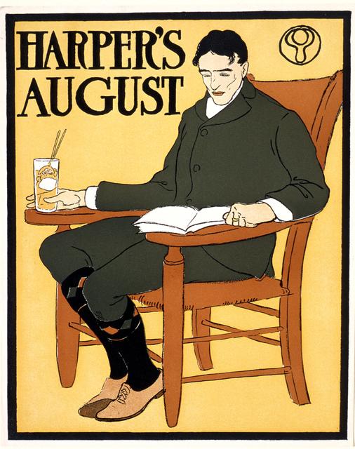 Edward Penfield, 'Man Seated in Orange Chair, August Harper's', 1885-1915, Clark Art Institute