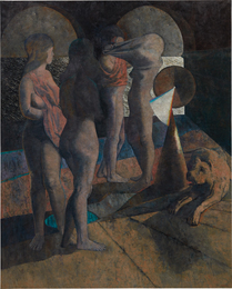 Four Bathers and a Dog