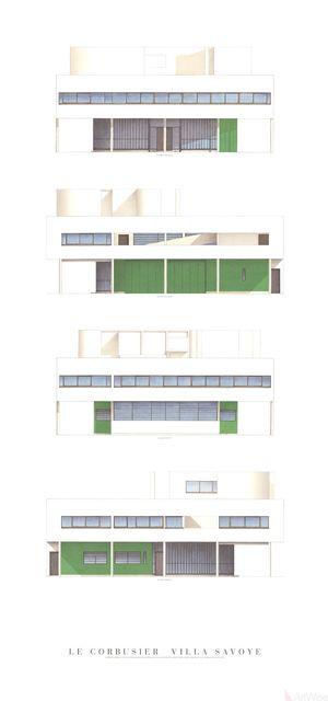 , 'Villa Savoye, Four Elevations,' (Date unknown), ArtWise