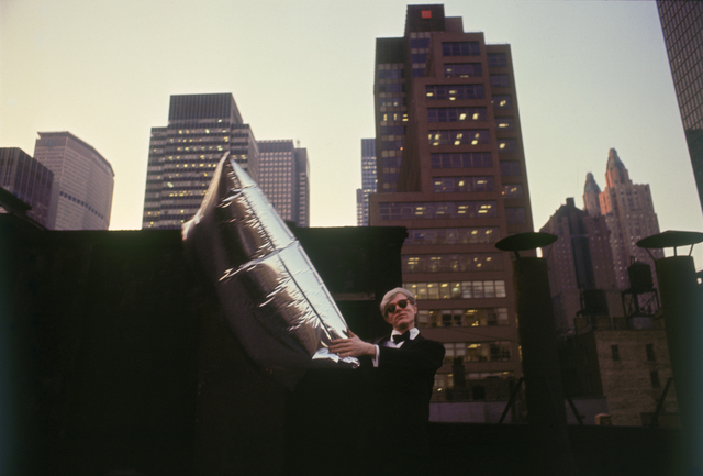Hervé GLOAGUEN, 'Andy WARHOL with silver balloons at the roof of Chelsea Hotel, NY 1966', 1966, Photography, C-print, Galerie Arcturus