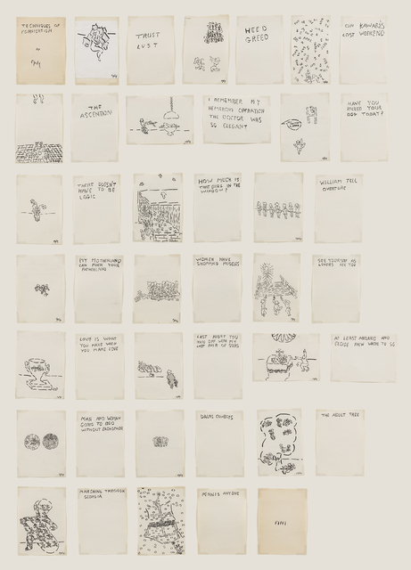 William Nelson Copley, 'Techniques of Fornication (Unbound Book of Drawings)', ca. c. 1991/2, David Nolan Gallery