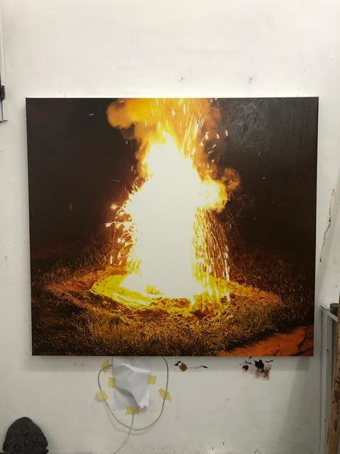 Filippo Sciascia, 'Primitive Learning', 2021, Painting, Etching and Oil on canvas + LED lights, Yeo Workshop
