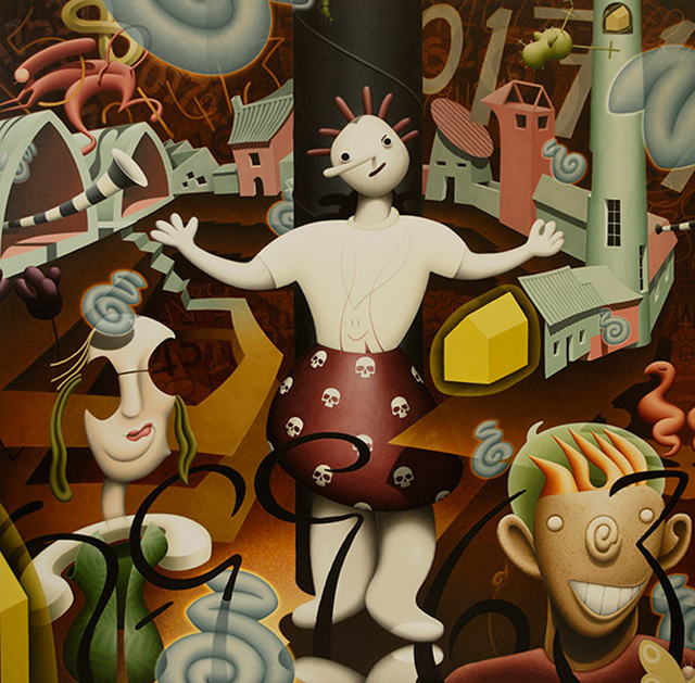 Rupert Gatfield, 'Three Figures, Original, surreal, the new religion, oil paint, linen, Signed', 2017, Flat Space Art