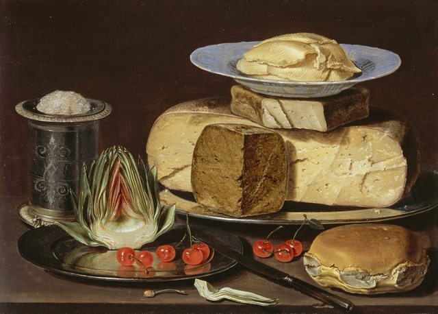Clara Peeters, 'Still Life with Cheeses, Artichoke, and Cherries', ca. 1625, Los Angeles County Museum of Art