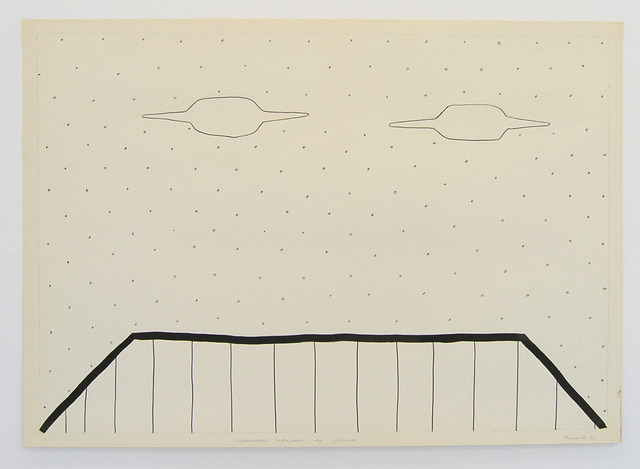 , 'Geo-graphic (Two UFOs above the roof),' 1989-2005, Galerija Gregor Podnar