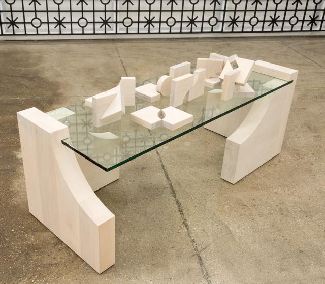 Edra Soto, 'Remnants   Restos (Table)', 2021, Sculpture, Glass and maple, Morgan Lehman Gallery