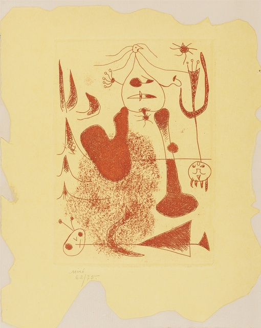 Joan Miró, 'Sablier Couche (Cramer books 5; D.20)', 1938, Print, Etching printed in red on cut yellow paper mounted to a folded sheet of Arches laid paper, Forum Auctions