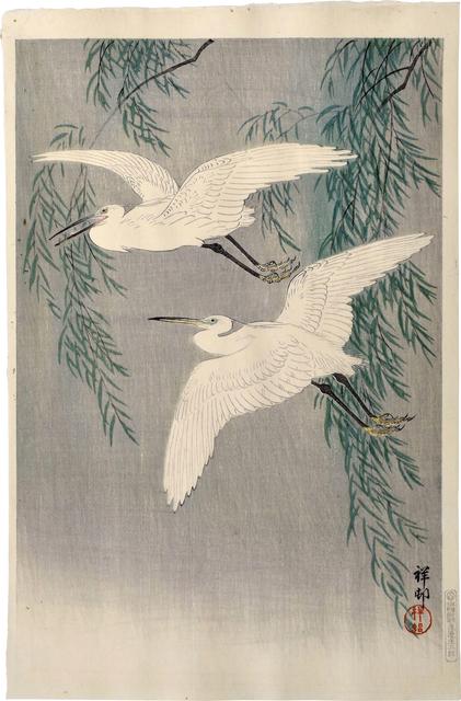 Ohara Koson, 'Egrets and Willow', ca. 1926, Print, Woodblock print, Scholten Japanese Art