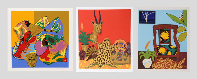 Hunt Slonem, 'Lobster; Shell Ginger; Ocelot (three works),' 1980, Heritage Auctions: Holiday Prints & Multiples Sale