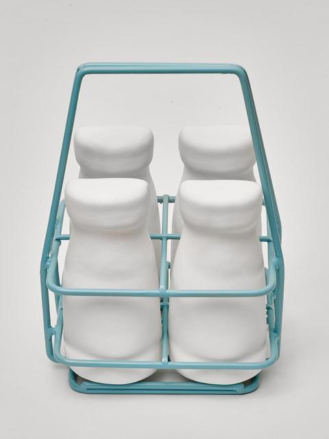 Simon Lewis-Wards, 'Milk Crate & Bottles', 2020, Sculpture, Slip Cast Porcelain and Powder-coated wire holder, Black Door Gallery