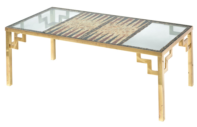 'Karl Springer Feather-Inset Glass and Brass Low Backgammon Table 1980s', 1980s, Design/Decorative Art, Doyle