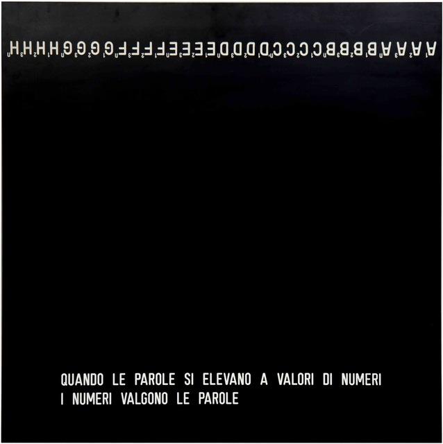 , 'Quando le parole si elevano a valori di numeri i numeri valgono le parole,' 1969, Galleria il Ponte
