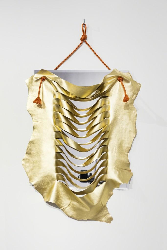 Ligia Dias BOB, 2018  Mirror, metal, leather, silk 55 x 70 cm