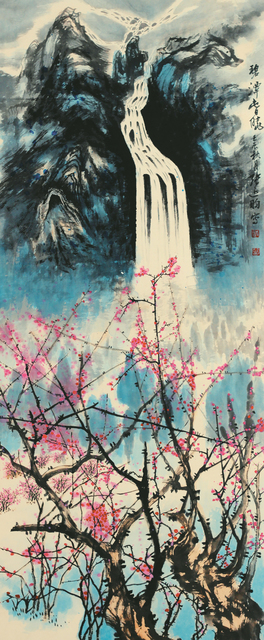 Zhang Yanyun, '泰山十二春秋-碧潭春晓', 2012, Drawing, Collage or other Work on Paper, Ink and colour on paper, Tian Bai Calligraphy and Painting (天白書畫)