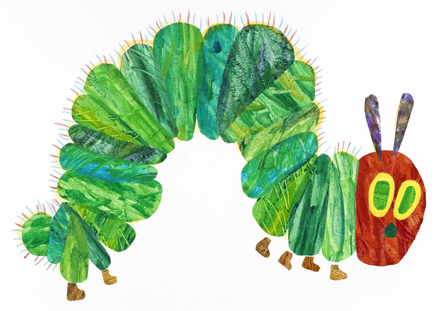 ", 'Illustration from ""The Very Hungry Caterpillar"",' 1969 and 1987, High Museum of Art"